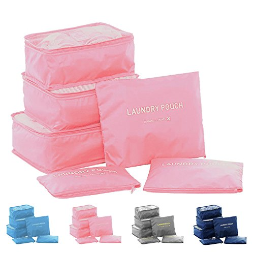 Clothes Travel Luggage Organizer Pouch (Light Pink) Set of 6 - 2