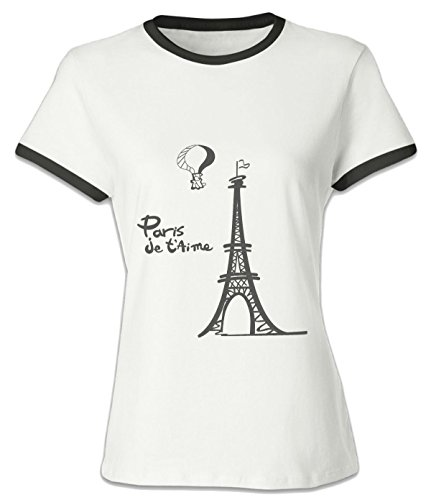Price comparison product image Crossing Women Lady Eiffel Tower Building Text English Simple Design Fashion Hit Color Tee S black