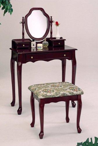 item Cherry finish wood bedroom vanity set