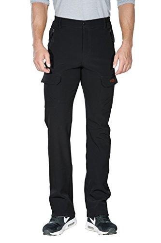 Nonwe Men's Outdoor Winter Water Resistant Fleece lined Cargo Snow Hiking Pants Black M