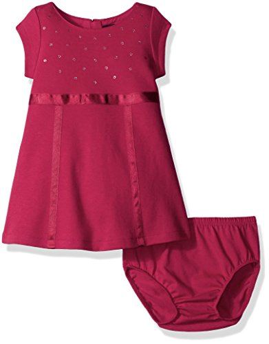 Nautica Baby Knit Dress with Sequin Neckline and Grosgrain Trims, Berry, 24 Months