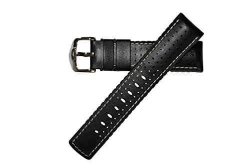 Hirsch Performance TIGER Leather Watch Strap Rubber Lining Black w/White Stitching 18mm