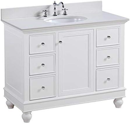 Amazon Com Bella 42 Inch Bathroom Vanity Quartz White Includes White Cabinet With Stunning Quartz Countertop And White Ceramic Sink Home Improvement