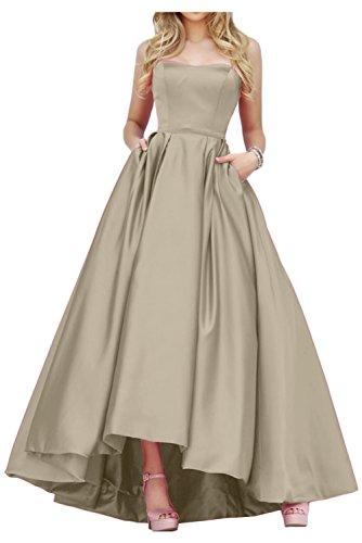 Traegerlos Satin Einfach Lang Promkleid Abendmode Gorgeous Champagner Hi 2 Bride Lo Abendkleid xAqRE7wX
