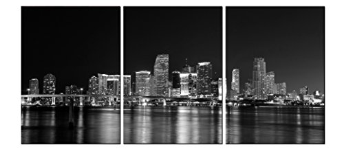 Florida Stretched Canvas (MIAMI SKYLINE/Florida Ready to Hang Black and White 3 Panel set Wall Art print mounted on Fiberboard Waterproof Canvas/better than stretched canvas/size (XS)12X8x0.4