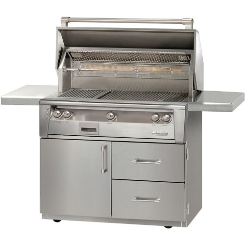 Alfresco ALXE-42SZCD-LP 42'' Liquid Propane Sear Zone Grill Cart Deluxe with 82500 BTUH Integrated Rotisserie Dual Integrated High-Intensity Halogen Work Lights and Built-In Motor in Stainless by Al Fresco