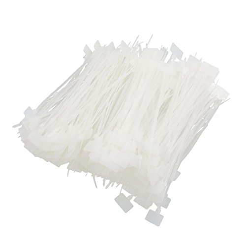 uxcell 500pcs Universal White 4mm x 150mm Nylon Marker Cable Tie Tag Wire Loop Strap