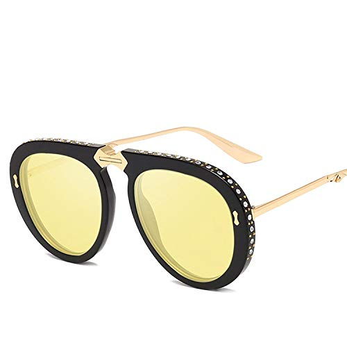 Round Sunglasses Female Oversized Glasses 2019 Metal Large Frame Inlaid Foldable Sunglasses Female Models Gift,S369