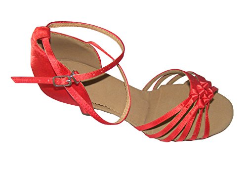 Pobofashion Damentanzschuhe mit rotem chinesischen Knoten für lateinamerikanische Tänze Rot