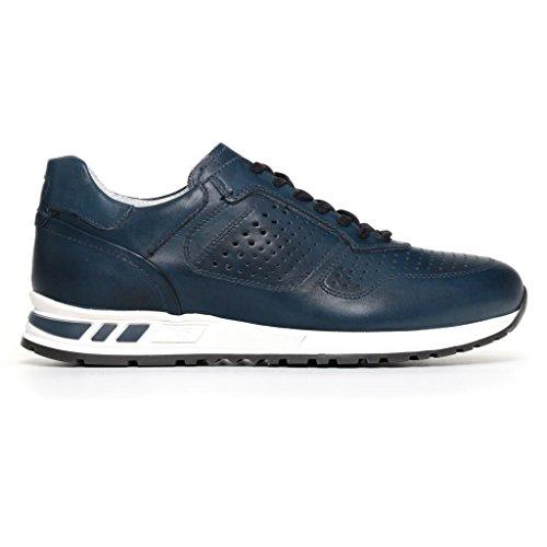 Nero Giardini Uomo Sneakers Blu (Oceano) in Pelle P800231U Scarpe in Pelle Primavera Estate 2018, EU 42
