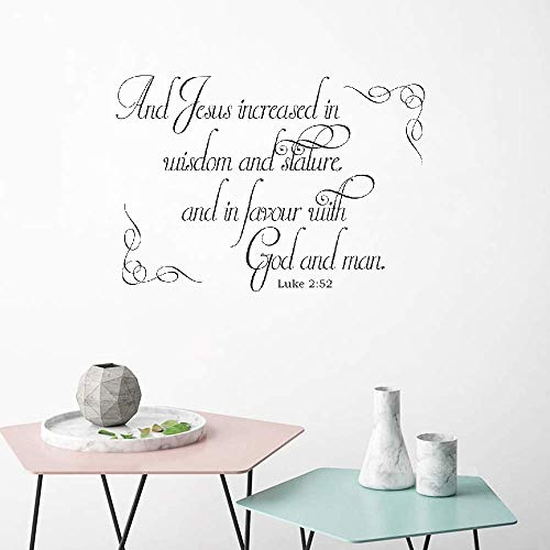 Anyet Wall Decal Jesus Increased in Wisdom and Stature and in Favor with god and Man Bible Verse Scripture Wall Sticker Decor