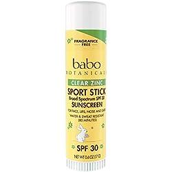 Babo Botanicals SPF 30 Fragrance Free Clear Zinc Sport Stick 0.6 Ounce - Sunscreen SPF 30, EWG Rated 1, Non Nano Natural Zinc
