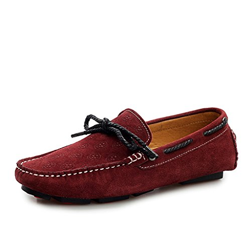 Minitoo Men's Casual, Komfort, Loafer Suede Boat Shoes Fashion-Mokassin Weinrot