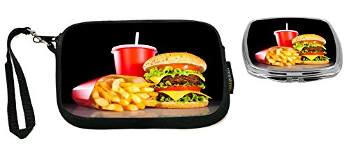 Rikki Knight Burgers and Coke Design Neoprene Clutch Wristlet with Matching Square Compact - Design Coke