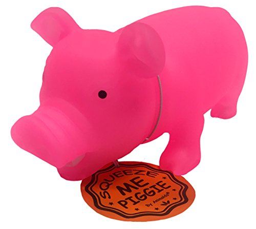 Glow in The Dark Squeeze Me and Oink Piggie by Animolds Size 8 inch Different Colors Great for Kids (Pink) ()