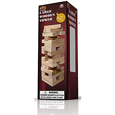 Forever Toys Large Wood Tower Game 48 Pieces: Toys & Games