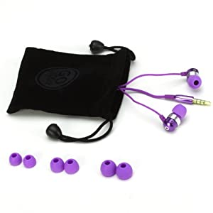 GOgroove Purple Earbuds In-Ear Headphones with Deep Bass , In-Line Microphone & Noise Isolating Ergonomic Ear Gels - Great for Smartphones While Running , Working Out , Traveling