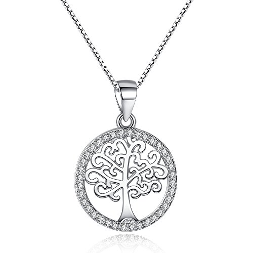 25 Mm Coin Shape (BELAWANG 925 Sterling Silver Family Tree Necklace Round Shape,Anniversary,Birthday,Christmas Gifts)