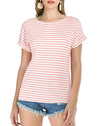 - Haola Women's Striped Tops Summer Casual Round Neck Short Sleeve Blouse T-Shirt Pink Stripe XL