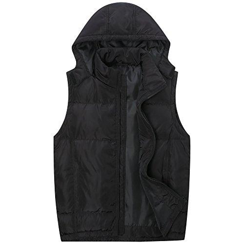 The Plus Project Men's Plus Size Down Vest With Detachable Hood 3X-Large Black