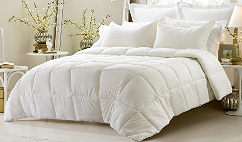 3pc Reversible Solid/ Emboss Striped Comforter Set- Oversized and Overfilled - 2 bedding looks in 1 - King-Ivory