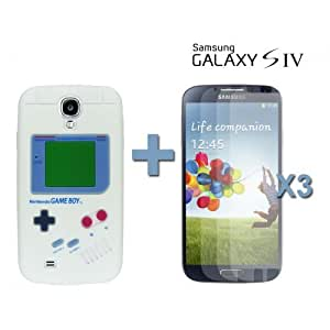 OnlineBestDigital - Gameboy Style Silicone Case for Samsung Galaxy S4 IV I9500 / I9505 - White with 3 Screen Protectors