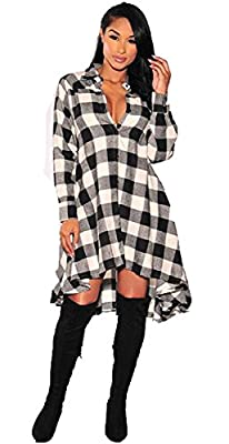 Supplim Womens Lady Long Sleeves Plaids Irregular Hem Casual Shirt Dress