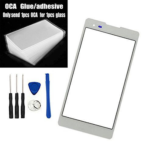 Front Screen Outer Glass top Panel Real Lens Replacement for LG Tribute HD LS676 K6B (Not LCD &Not digitizer) White +Pre-Cut OCA Tape/Adhesive
