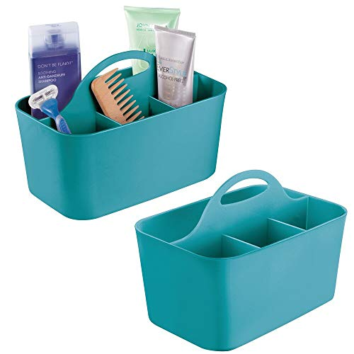 (mDesign Plastic Portable Storage Organizer Caddy Tote - Divided Basket Bin with Handle for Bathroom, Dorm Room - Holds Hand Soap, Body Wash, Shampoo, Conditioner, Lotion - Small, 2 Pack - Teal Blue)