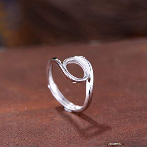 - Ring Blank (8x10mm Oval Blank) Adjustable Sterling Silver Ring Base Long-Lasting White Gold Plated 925 Silver Ring Setting R794B