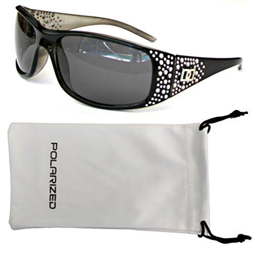 Vox Women's Polarized Sunglasses Designer Fashion Eyewear w/ Microfiber Pouch – Black & Grey Frame - Smoke (Eyewear Designer Ladies Sunglasses)