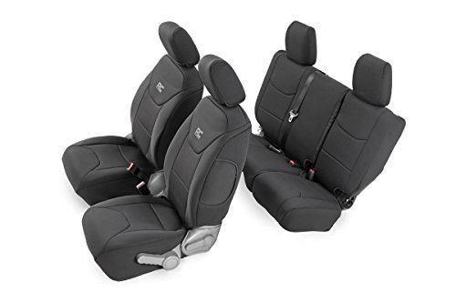 Rough Country – 91002 – Black Neoprene Seat Cover Set (Front & Rear) for Jeep: 08-10 Wrangler Unlimited JK 4WD/2WD