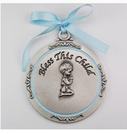 Beautiful Boy's Baptism Boy Crib Medal/Carded 2-3/4 Overall Length
