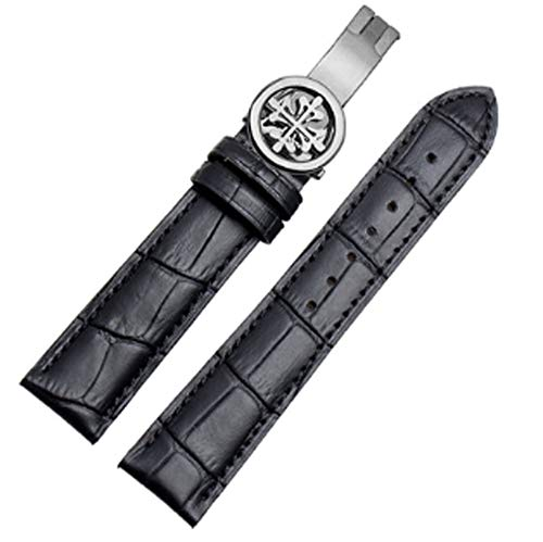 20mm/21mm/22mm Black/Brown Leather Watch Band Strap Deployment Buckle Fit for Patek Philippe (20mm, Black line(Silver Buckle))