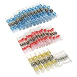 80pcs Solder Seal Wire Connectors, Sopoby Heat Shrink Butt Terminals, Insulated Waterproof Automotive Marine Electrical Connector Set (30Red 30Blue 15White 5Yellow)