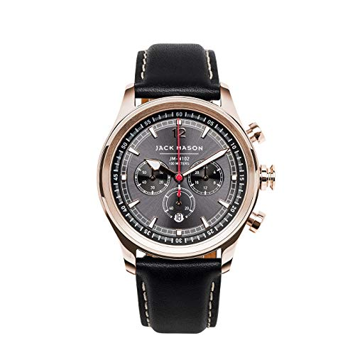 Jack Mason Men's Chronograph Watch Nautical Black Italian Leather Strap JM-N102-025
