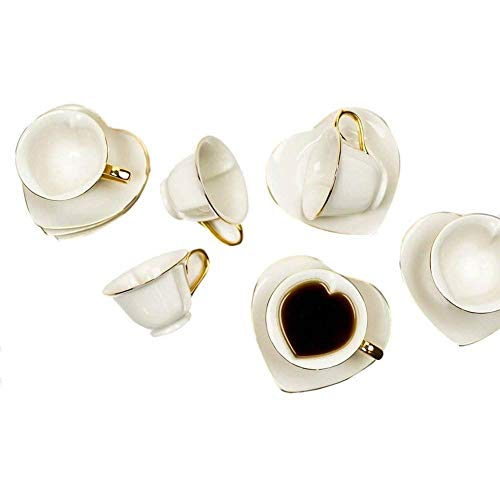 Tea and Coffee Cups with Saucers (Set of 6) by Classic Coffee & Tea|Charming, Inside Out Cups & Heart-Shaped Saucers…
