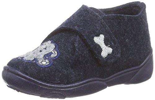 Fischer Jungen-Klett-Hausstiefel - Zapatillas de estar por casa de lana para niño azul - Blau (501 jeansblau)