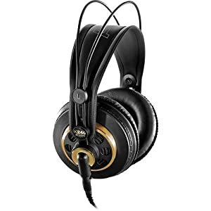 AKG K 240 Studio Professional Semi-Open Stereo Headphones with Auray Headphone Holder and 25′ Extension Cable
