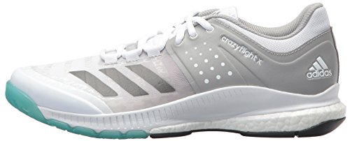 brand new 68bd7 baf22 adidas Womens Crazyflight X Volleyball Shoe,WhiteNight MetallicGrey,5 M