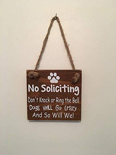 Fun | No Soliciting | Front Door | Rustic Brown | Dog Owner | Sign Door Hanger