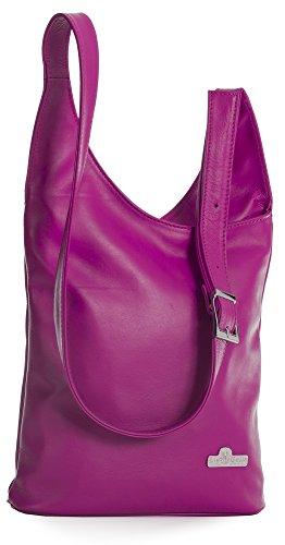 LIATALIA Womens Genuine Soft Italian Leather Long Shoulder Strap Cross Body Hobo Bag - KALEY Hot Pink