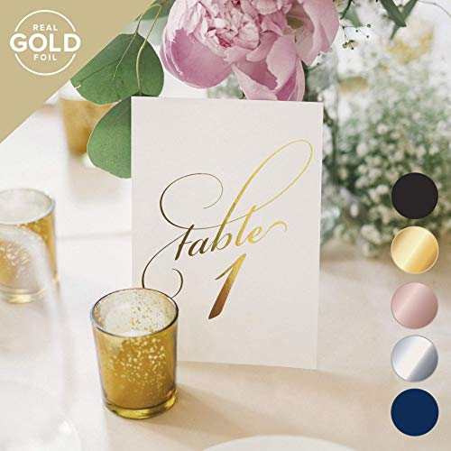 Gold Wedding Table Numbers (Assorted Color Options Available), Double Sided 4x6 Calligraphy Design, Numbers 1-25 & Head Table Card Included - from Bliss Paper Boutique ()