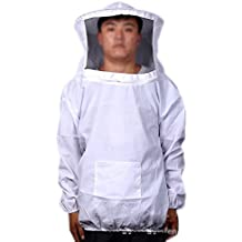 Beekeeping Protective Jacket Suit with Veil for Professional and Beginner Beekeepers Without Pants (White)