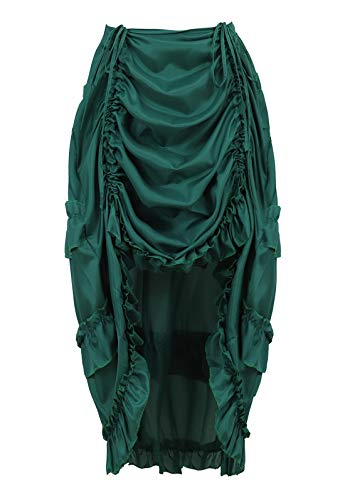 Zhitunemi Women's Steampunk Skirt Ruffle High Low Outfits Gothic Plus Size Pirate Dressing Green 3XL/4XL