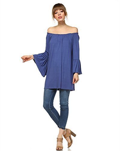 TODAY SHOWROOM Boutique Premium Rayon Open Shoulder Bell Sleeve Top (1XL, DENIM BLUE)