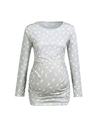 BIHSD Women's Maternity Swallow Print Nursing Tops Long Sleeve Breastfeeding Shirt