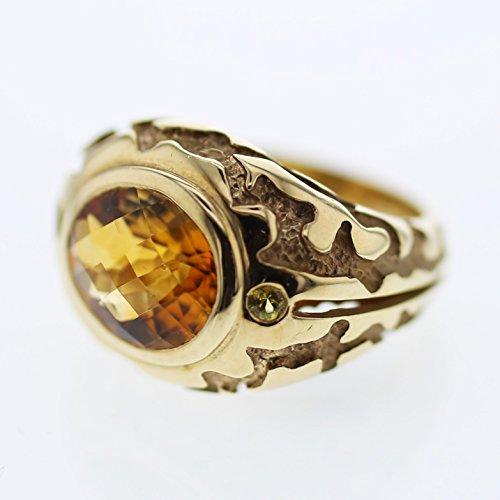 14K Yellow Gold Citrine & Orange Sapphire Diamond Ring