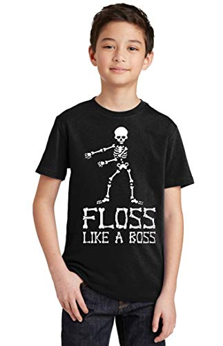 Floss Like A Boss Funny Dance Halloween Youth T-Shirt, Youth S, Black