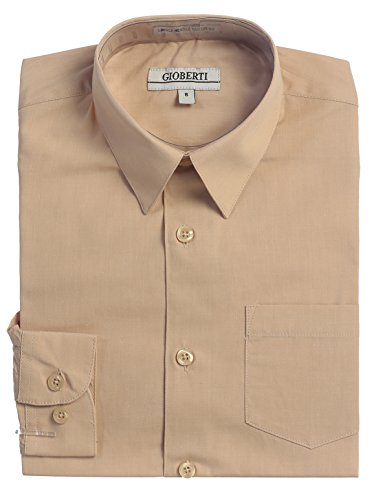 Gioberti Big Boys' Long Sleeve Dress Shirt, Khaki, 10 -